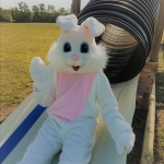 Our Easter Bunny loves having fun on the farm!